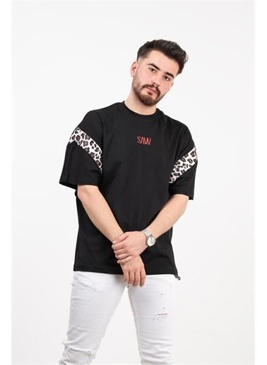 Deri Effect Deri Effect Unisex Desenli Oversize Pamuk T-Shirt Beyaz
